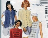 Jacket and Vest Pattern with Stand Up Collar McCalls 7669 Size 8 10 12 Princess Seams Button Front Vintage