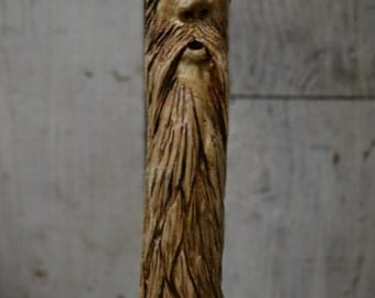 Double Carved Walking Cane - Carved Wood Spirit Face Cane - Hand Carved walking cane - grizzly bear - functional art  - 1380