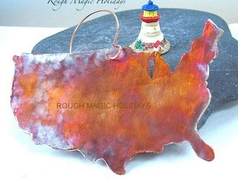 USA Map Christmas Tree Decoration. Rustic Copper Metal Ornament. American Primitive Folk Art. Colorful Metalwork Xmas Ornament Holiday Decor
