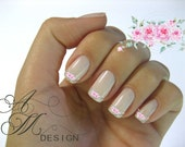 fw-051 Shabby Beautiful Victorian Vintage Very Chic Pale Pink Roses Spray Nail Art Waterslide Miniature Dollhouse Water Decals