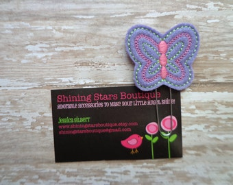 Felt Planner Clips - Dark Lavender Spring Butterfly With Lime Green And Pink Detailed Accents Paper Clip Or Bookmark - Garden Bugs