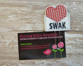 """Fun Planner Clips - White Envelope With A Red Heart """"SWAK"""" Valentine Love Letter Felt Paper Clip Or Bookmark - Accessory And Planner Goodies"""