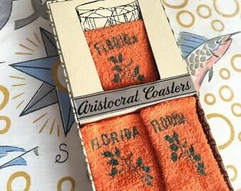 Vintage Florida cozies coasters set 6 terry cloth 1960s unused box NOS Floridiana kitsch