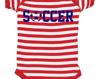 Patriotic Soccer Baby Bodysuit - Red White & Blue