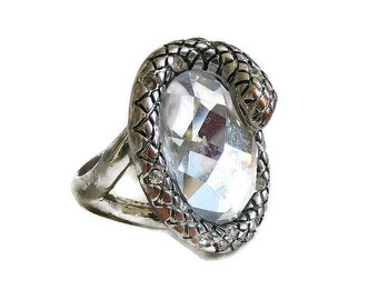 Snake Ring Large Cut Glass & Rhinestones Vintage Statement in Size 8