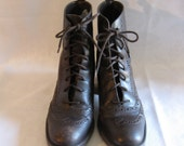 Lace Up Granny Boots Brown Leather Size 6.5 Vintage 80s