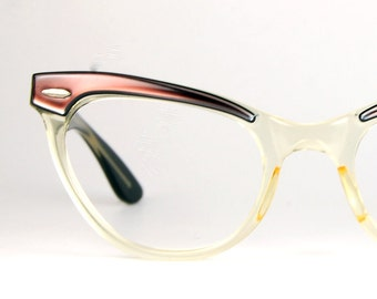 Vintage Bausch and Lomb Cat Eye Glasses Frames Two Tone Marsala to Clear Fade Brow Line Optical Frame B&L Ladies 46/20