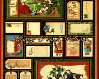 "Wilimington Graphic 45 ""Christmas Emporium"" 85551 Vintage Santa Toys Fabric Panel 23"" x 44"""