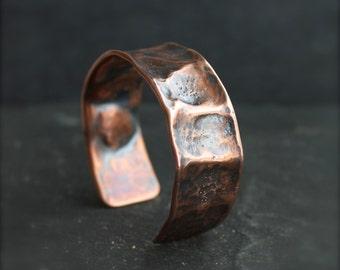 Regmaglypt Meteorite Cuff Bracelet - No. 12, Hammered Copper, Mens Womens Unisex Jewelry