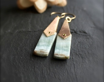 Hemimorphite Stone Earrings - Etched Brass Diamond, Gold Brass Rivet, Pale Mint Green, Light Brown, Long Statement Earrings, Boho Jewellery