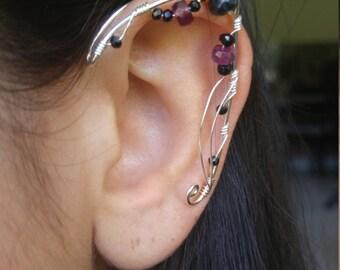 Sterling Silver Ear Cuff Pair w/ tourmaline and onyx gemstones & unique wirework, Elf Ears, Elvish, Elven Ears, Pixie Ears, Fairy Ears,