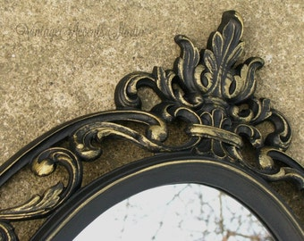 Large Ornate Oval Mirror Black Vintage Syroco Shabby French Chic Mid Century 60s