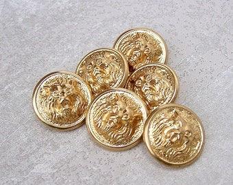 Gold Lion Buttons 22mm - 7/8 inch Bright Gold Tone Vintage Roaring Lion Metal Buttons - 6 VTG NOS Carved High Relief Gold Lion Buttons MT75
