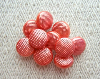 Glistening Orange Buttons 13mm - 1/2 inch Silvered Metallic Orange Pebbled Plastic Buttons - 10 VTG NOS Orange Shank Buttons for Kids PL099