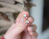 Moonstone Stud earrings, bezel set, sterling, brass // IN-ORBIT STUDS