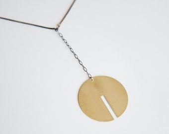 Rae Pendant Necklace - Long Lunar Circle, Stamped Detail