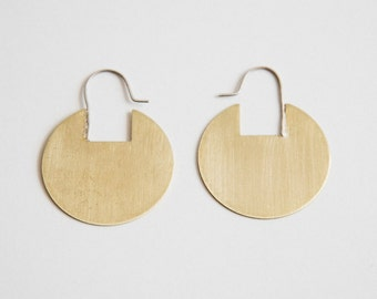 Rae Hoops, Large or Small Brass Circle Earrings