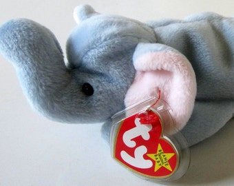 PEANUT the Blue Elephant Ty Beanie Baby Retired 1995 Original Plush Toy Animal Collectible Pink Ears Dark Eyes