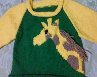Hand knit Giraffe Ragland Sleeve rolled neck, bottom and sleeve pullover size 24 month to 2T