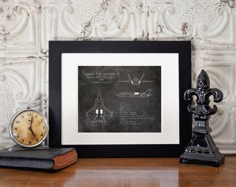F-35 Lightning II airplane blueprint, aviation decor, airplane decor, military aircraft decor, husband gift, pilot gift, boys nursery art