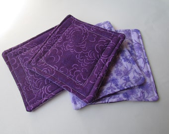 CLEARANCE, Discontinued, Fabric Drink Coasters / reversible / Set of four / Hostess gift / drinkware / lavender