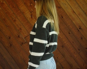 90s Chunky Faded Black and White Mock Neck Pullover Knit Sweater - MEDIUM M