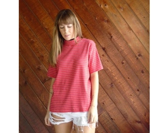 Red Striped Mock Neck Knit s/s Tee - Vintage 90s - L