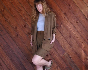 Brown Houndstooth Checkered Co ord Set Blazer and Shorts - Vintage 90s - SMALL S