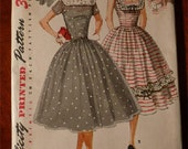 1956 Sewing Pattern Simplicity #1565 Size 18 Bust 36 Junior Misses & Misses Full Skirted Dress Low Back UNCUT