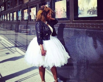 White Tulle Skirt - Bridal, Bridesmaid, Fashion Tutu - Knee length, Tea length, Long tulle skirt - Women, Adult Sizes - Engagement, Photos