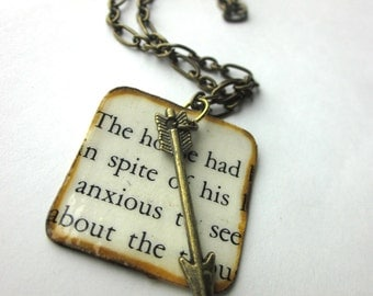 Book page necklace, literary necklace, book jewelry, arrow charm necklace, Short Stories