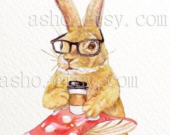 Rabbit Watercolor PRINT - 8x10 Illustration, Bunny Painting, Bunny Rabbit, Nursery Art, Nerd Rabbit, Hipster Glasses, Kitchen Art,Coffee art