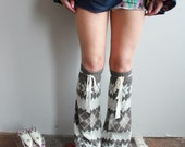 Bohemian Nordic Fair Isle Upcycled Recycled Eco Friendly Sweater Knit Flared Leg Warmers Legwarmers/ Boot Covers Accessories