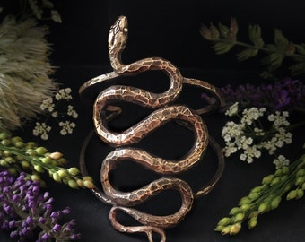 Snake Cuff - Inspired by Garden Snakes - Asclepius the Serpent Holder - Made by Jamie Spinello - Renenutet Goddess of Nourishment