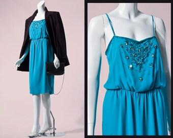 80s A.J. Bari Teal Silk Beaded & Sequin Floral Dress | S/M