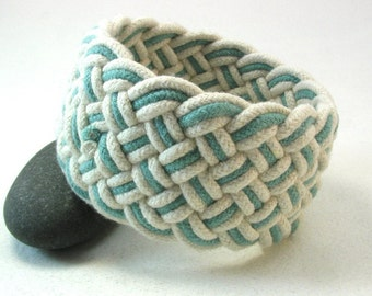 extra wide teal rope bracelet knotted armband bracelet turks head bracelet ecru and teal nautical accessory 3963