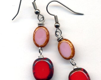 Red and Pink Earrings, Surgical Steel Earrings, Long colorful Earrings by AnnaArt72