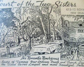 Vintage Postcards, New Orleans Postcard, Court of Two Sisters, New Orleans Souvenir, Restaurant Memorabilia Louisiana, Black & White Drawing