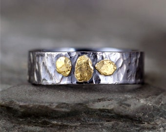 Natural Gold Nugget Wedding Band - Oxidized Sterling Silver - Rustic Men's Ring - Gold Rush - Mixed Metal Wedding Bands