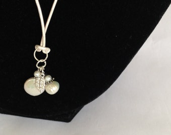 Necklace-Pearl Pendants With  Sterling Silver Leaf Charm