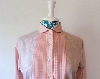 vintage pink blouse // 1980's Saddlebred // pintucked bodice 80's schoolgirl