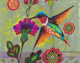 Hummingbird in Garden of Fantastic Flowers