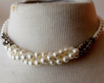Vintage Necklace  Pearl Multi Strand Silver