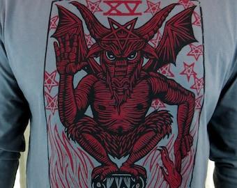 Clearance-- El Diablo Tarot Inspired Men's Longsleeve Hooded Tshirt