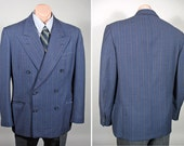 Vintage 1940s Blue Pinstripe Men's Double Breasted Sport Coat or Jacket SZ 40/42