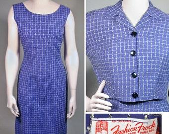 1950s Vintage Purple Woven Plaid Dress and Jacket Set SZ S/M