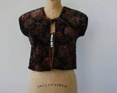 1970s velour vest / 70s vintage vest / 70s quilted velour vest / 70s romantic floral vest / 70s black quilted vest / nos nwt vest / med lrg