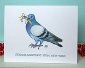 Funny Holiday Card - NYC Critters - Pigeon & Gift