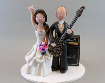 Rock N' Roll Couple Personalize Wedding Cake Topper