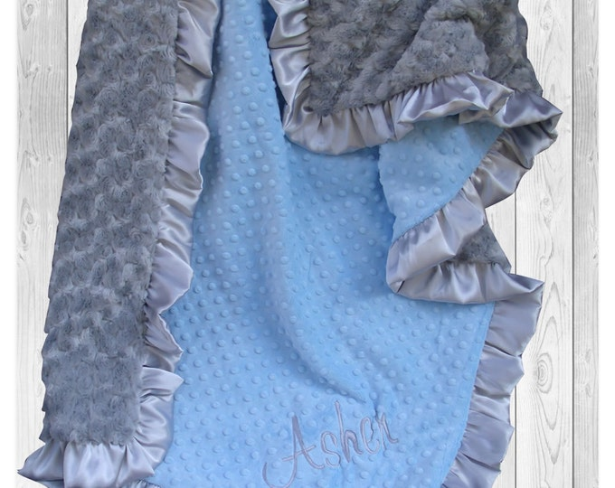 Gray and Blue Minky Baby Blanket for a Baby Boy, Silver Satin Ruffle Minky Blanket available in three sizes, Can Be Personalized